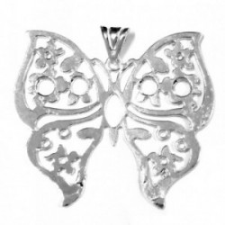 Colgante plata Ley 925m Mariposa maciza calada grande [1974]