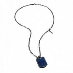Collar Police PJ.26400PSUN-02 hombre acero inoxidable combinado chapa azul detalles mosquetón