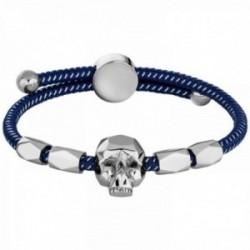 Pulsera Police PJ.26554BLN-02 hombre Konso nylon azul combinado acero inoxidable calavera
