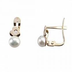 Pendientes oro 18k diamante brillante 0,007ct perla [6688P]