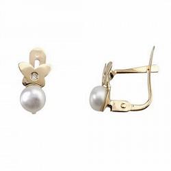 Pendientes oro 18k diamante brillante 0,007ct perla [6689P]