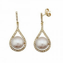 Pendientes oro 18k largos lágrima perla cultivada 10mm. [6717]