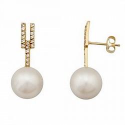 Pendientes oro 18k largos filigrana perla cultivada 9,5mm. [6718]