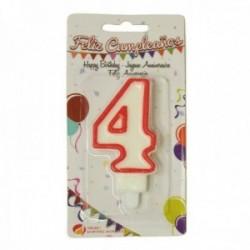 Pack 12 uds. Martínez Morales Vela De Cumpleaños Para Tarta Número 4