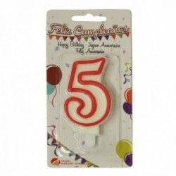 Pack 12 uds. Martínez Morales Vela De Cumpleaños Para Tarta Número 5