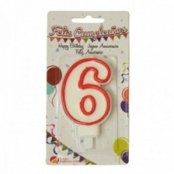Pack 12 uds. Martínez Morales Vela De Cumpleaños Para Tarta Número 6