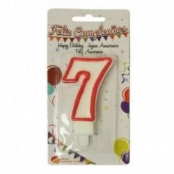 Pack 12 uds. Martínez Morales Vela De Cumpleaños Para Tarta Número 7