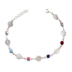 San Benito pulsera plata Ley 925m mujer 20 cm. piedras colores combinadas círculos inscripción