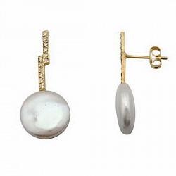Pendientes oro 18k largos quiebro perla coín 10,5mm. [6723]