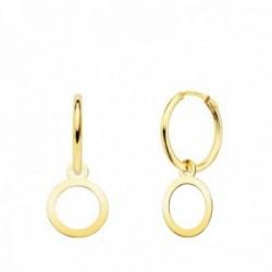 Pendientes oro 18k mujer aro 12 mm. combinado círculo calado 10 mm.