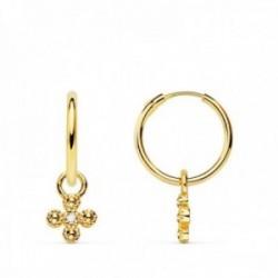 Pendientes oro 18k mujer aro 11 mm. combinado cruz colgante circonita centro