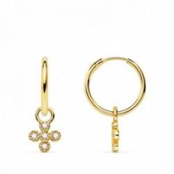 Pendientes oro 18k mujer aro 11 mm. combinado cruz colgante circonitas esquinas