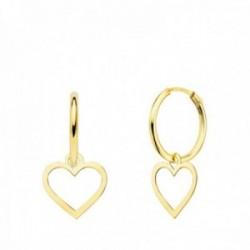 Pendientes oro 18k mujer aro 12 mm. combinado corazón calado colgante 9 x 9 mm.