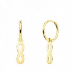 Pendientes oro 18k mujer aro 12 mm. combinado infinito calado 12 x 4 mm.