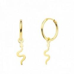 Pendientes oro 18k mujer aro 12 mm. serpiente lisa 12 x 5 mm.