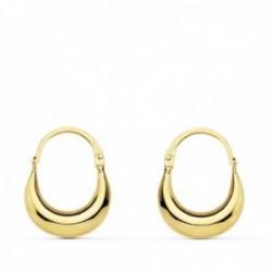 Pendientes oro 18k mujer 15 mm. huecos criollas aro