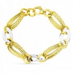 Pulsera oro bicolor 18k mujer eslabones combinados reasa