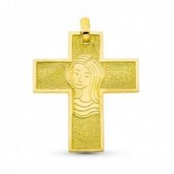 Cruz colgante oro 18k Virgen centro 30 mm. detalles bordes lisos