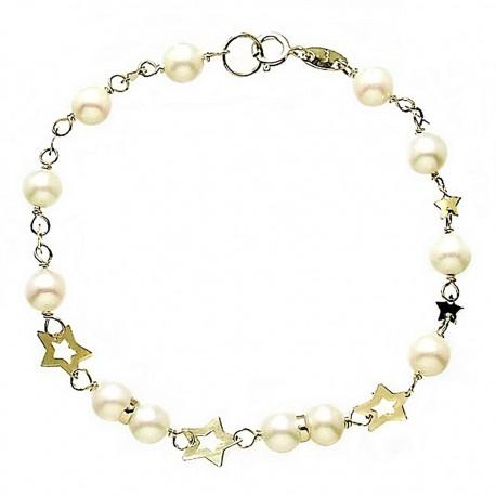 Pulsera oro 9k perlas cultivadas estrellas 17cm. [6590]