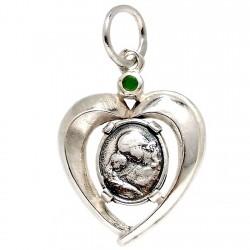 Colgante plata Ley 925m. corazón medalla piedra verde [1203]