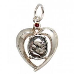Colgante plata Ley 925m. corazón medalla piedra roja [1205]
