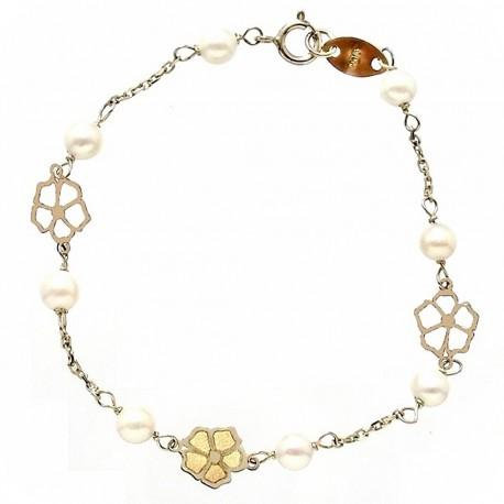 Pulsera oro 9k bebé 13,5cm. 8 perlas cultivadas 6mm. [6734]