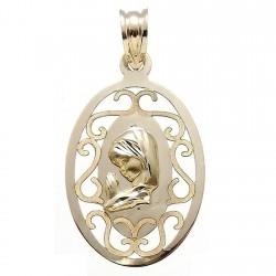 Medalla colgante oro 9k Virgen Niña 27mm. ovalada formas calada cerco liso