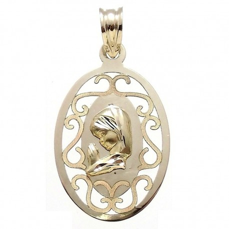 Medalla colgante oro 9k Virgen Niña 27x17 ovalada [6735]