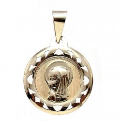 Medalla colgante oro 9k Virgen Niña 18mm. redondo cerco formas calado centro tallado