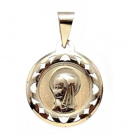 Medalla colgante oro 9k Virgen Niña 18mm redonda [6736]