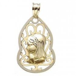 Medalla colgante oro 9k Virgen Niña 27mm. forma lágrima centro calado formas cerco liso