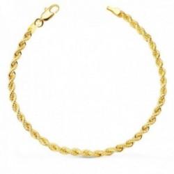 Pulsera cordón oro 18k salomónico 19 cm. mosquetón