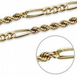 Cordón cadena 18k salomónico hombre combinado eslabones 7 mm.