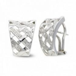 Pendientes oro blanco 18k mujer formas cuadradas caladas combinadas circonitas lisas omega