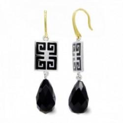 Pendientes oro bicolor 18k mujer largos forma cuadrada detalles color combinados piedra color negro
