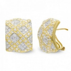 Pendientes oro bicolor 18k mujer forma rectangular rombos combinados circonitas omega