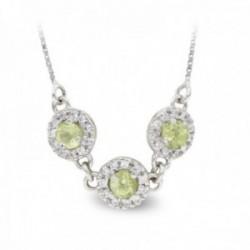 Gargantilla oro blanco 18k mujer tres círculos piedra verde centro combinada circonitas veneciana