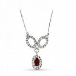Gargantilla oro blanco 18k mujer tres ovales calados combinados piedra color rojo centro circonitas