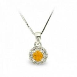 Gargantilla oro blanco 18k mujer circonitas combinadas piedra color amarillo cadena veneciana