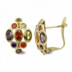 Pendientes oro 18k mujer forma rombo piedras colores ovaladas combinadas