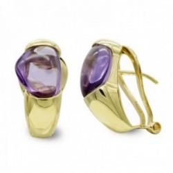 Pendientes oro 18k mujer piedra color forma ovalada