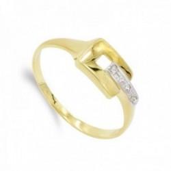 Sortija oro bicolor 18k mujer formas combinadas circonitas cuadrado calado