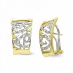 Pendientes oro bicolor 18k mujer formas variadas caladas combinadas circonitas