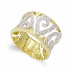 Sortija oro bicolor 18k mujer formas variadas caladas circonitas combinadas lisas