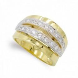 Sortija oro bicolor 18k mujer circonitas barras horizontales caladas