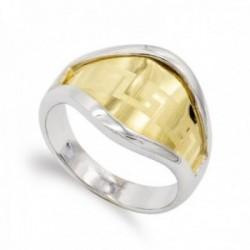 Sortija oro bicolor 18k mujer lisa detalle greca centro