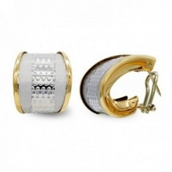 Pendientes oro bicolor 18k mujer mate brillo banda vertical detalles omega