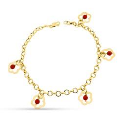 Pulsera oro 18k mujer motivo flores colgantes caladas combinadas piedra coral imitación mosquetón