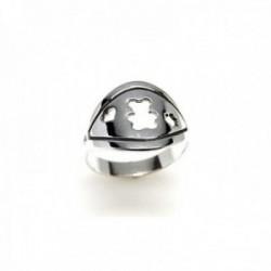 Sortija plata Ley 925m detalle oso centro corazón flor calados combinados lisa