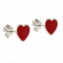 Pendientes plata Ley 925m mujer 9 mm. corazón esmaltado rojo presión
